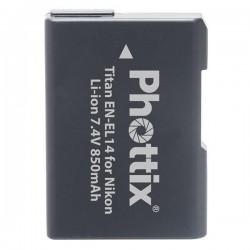 Phottix Batterie rechargeable Phottix Titan EN-EL14 pour Nikon P7000/P7100/D3100/D3200/D5100