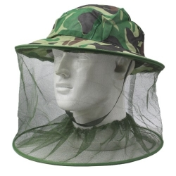 Outdoor Camouflage Insect Resistance Mesh Head Face Protector Hat / Fishing Cap