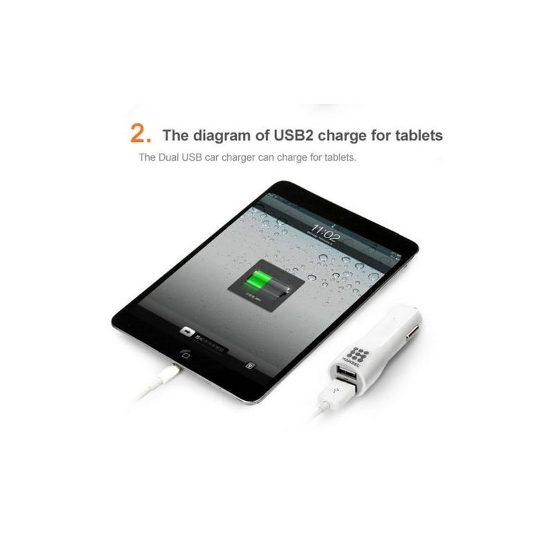 haweel dual usb chargeur voiture iphone samsung vert biglens. Black Bedroom Furniture Sets. Home Design Ideas