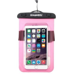 HAWEEL Transparent Universal Waterproof Bag for iPhone, Samsung Pink