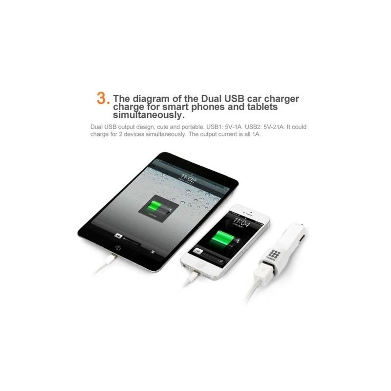 haweel dual usb chargeur voiture iphone samsung bleu biglens. Black Bedroom Furniture Sets. Home Design Ideas