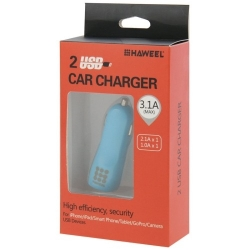 Haweel Dual USB Chargeur voiture Iphone, Samsung bleu