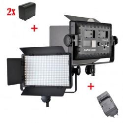 Godox Kit Led500 White Led Panel + 2xNP-F960 + Chargeur