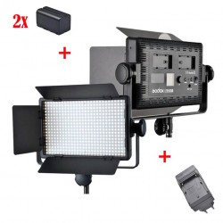Godox Kit Led500 White Led Panel + 2xNP-F770 + Chargeur