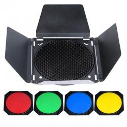 Godox BD-04 Nid d 'abeille 178mm - Coupe flux - Filtres de couleur rouge/vert/jaune/bleu