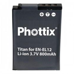 Phottix Batterie pour Nikon EN-EL12 compatible Nikon S610, S610c, S620, S630, S710, S1000pj, S70 et S640