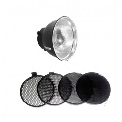Kit Réflecteur 18cm - 65° + 4 grilles nid d'abeille